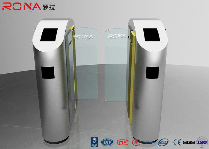 Security Turnstile Barrier Gate Automatic Sliding Type Tempered Glass Customized Color